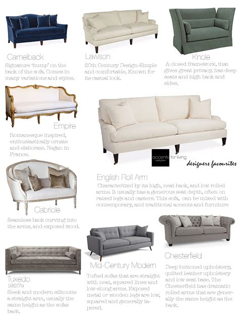 different styles of sofas our sofa style guide accents for living