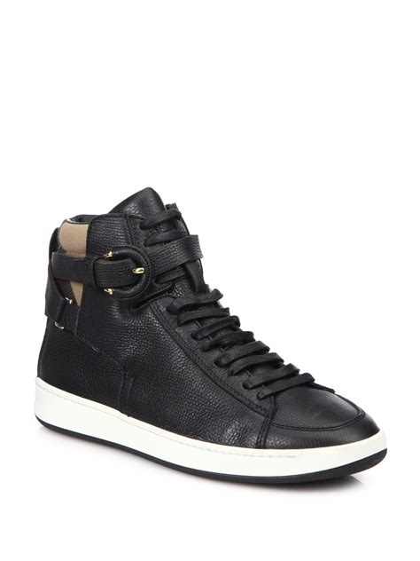 burberry folkington leather high top sneakers in black lyst