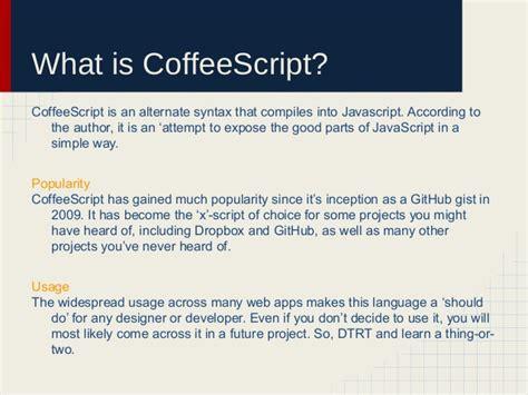github tutorial for beginners ppt coffeescript a beginner s presentation for beginners copy