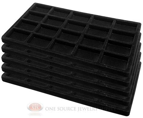 Jewelry Tray Drawer Inserts by 5 Black Insert Tray Liners W 20 Compartments Drawer
