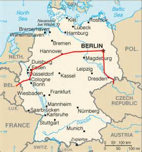 Map of germany showing rail line from prague to paris