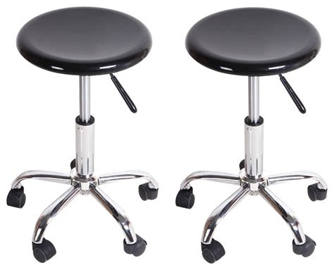 wheeled bar stools adeco round black high gloss rolling counter stools set