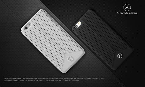 mercedes benz apple iphone   pure  perforated genuine leather hard case  cover