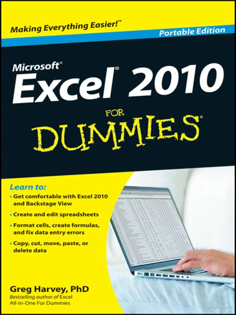 Excel Spreadsheets For Dummies Free by Excel 2010 For Dummies By Greg Harvey Waterstones