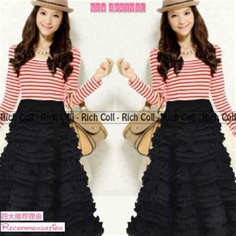 Baju Dress Ms937640 Dress Salur baju dress rufelle salur belang cantik murah