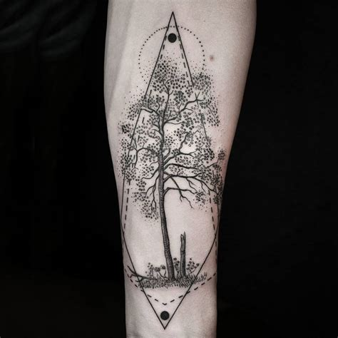 geometric tattoo la tree arm tattoo geometry tattoos pinterest arm