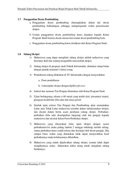 format skripsi unpam pedoman petunjuk teknis skripsi teknik informatika