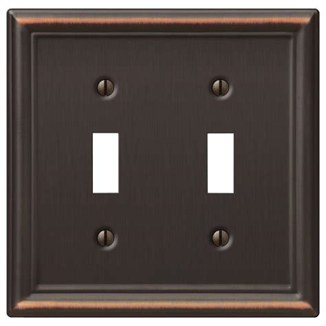 bronze light switch covers hton bay ascher 2 toggle wall plate aged bronze