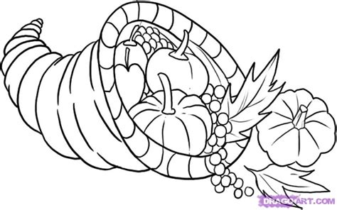 cornucopia basket coloring page how draw cornucopia step thanksgiving seasonal free bebo