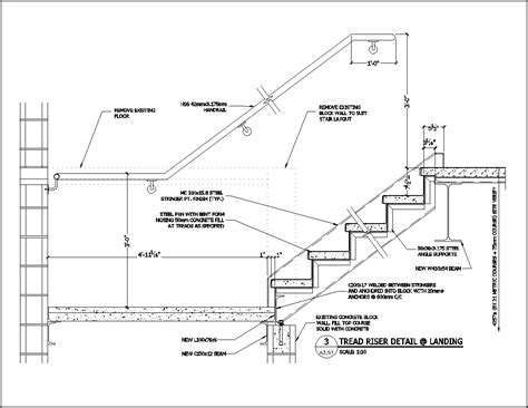 stair section detail dwg drawn stairs concrete staircase detail pencil and in