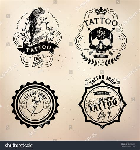 body tattoo vector set vector tattoo studio logo templates on dark background