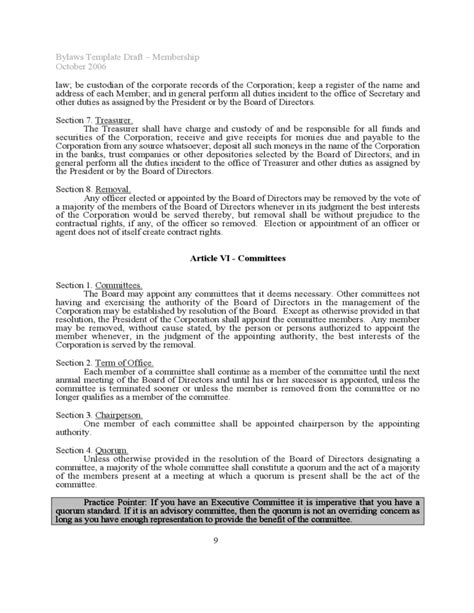 Bylaws Template Sle Free Download Board Bylaws Template