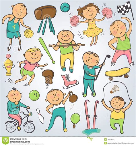 free vector doodle characters vector sport players doodle character royalty