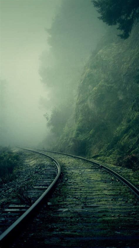 foggy train tracks forest iphone  wallpaper hd