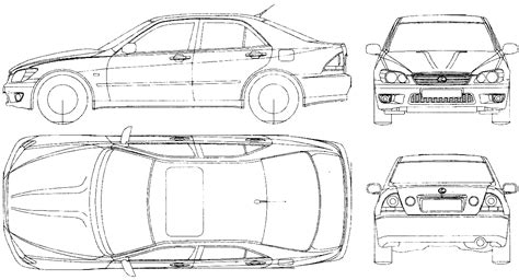lexus is300 drawing car blueprints чертежи автомобилей lexus