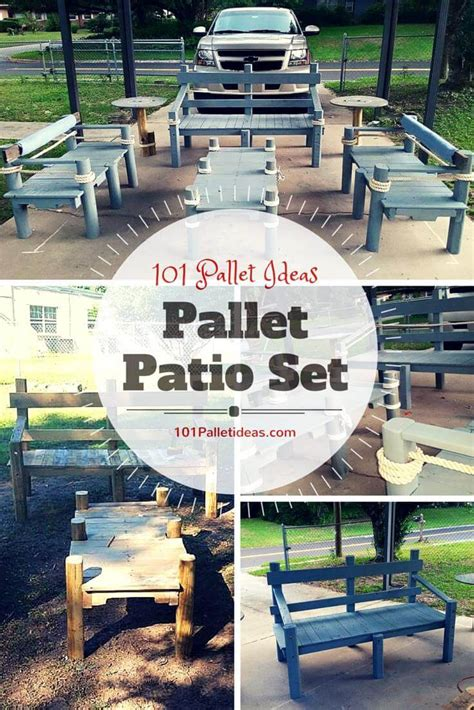 pallet patio furniture ideas pallet patio set inspired your outdoor
