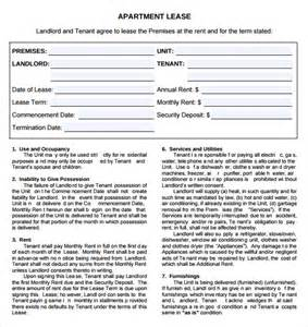 apartment rental agreement template word sle apartment rental agreement template 7 free