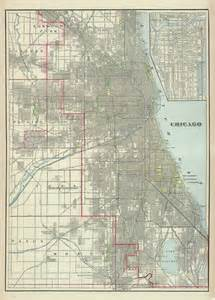 vintage chicago map map of chicago antique chicago city map print by ancientshades