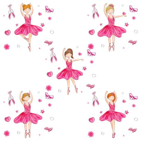 ballerina background ballerina in different hairstyle on doodle
