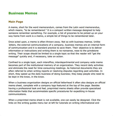 sle business memo 5 documents in pdf word