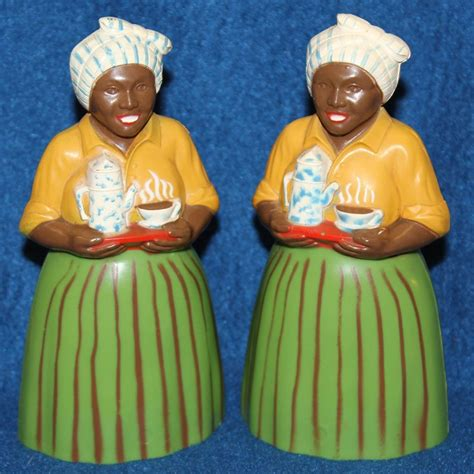 the original salt company l 1950 s f f luzianne mammy salt and pepper shakers from