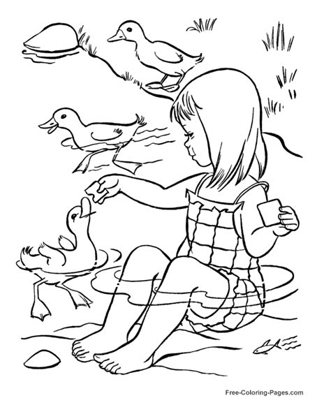 feeding ducks coloring page summer coloring book pages feeding ducks 10