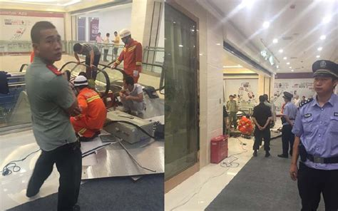 crushed by escalator crushed saving in horrific shopping mall