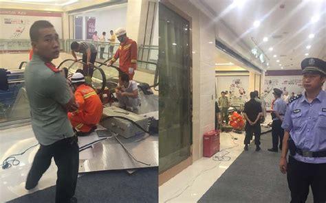 crushed by escalator crushed saving in horrific shopping mall