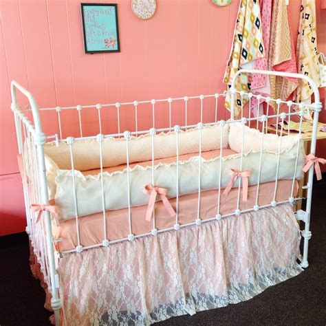 lace crib bedding peaches and cream lace baby crib bedding ruffled lace crib