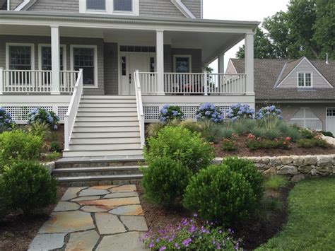 waterfront garden greenwich ct traditional porch