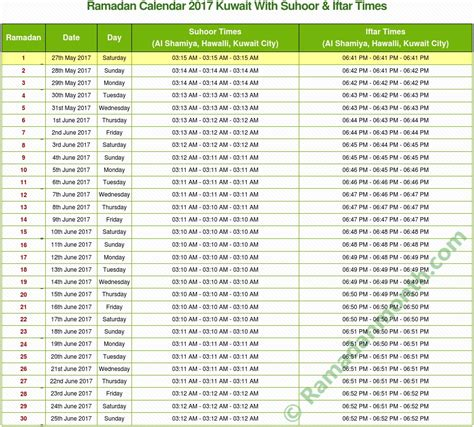 Calendar Compare Dates Ramadan 2017 Kuwait Calendar With Fasting Times