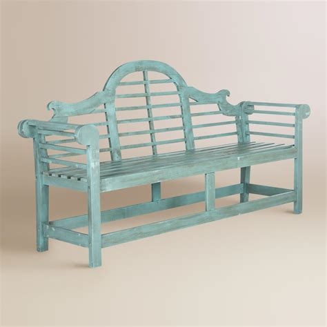 blue outdoor bench sea blue wood nerano outdoor bench world market