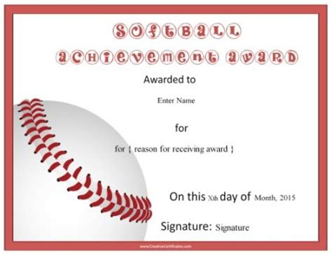 softball certificate templates image gallery softball certificates