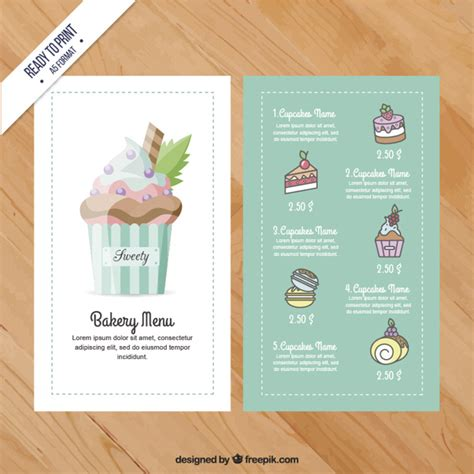 cupcake menu template vector premium download