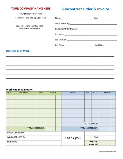 work order invoice template printable work orders descargardropbox