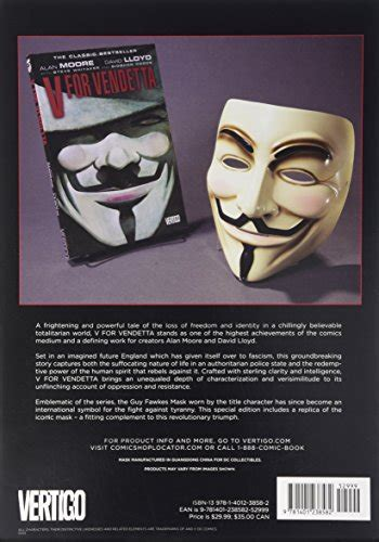 libro v for vendetta libro v for vendetta book and mask set di alan moore david lloyd