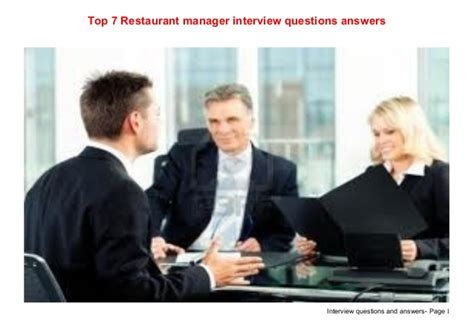 top 7 restaurant manager questions answers