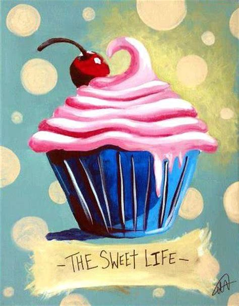paint nite birthday strawberry cupcake painting illustrations food
