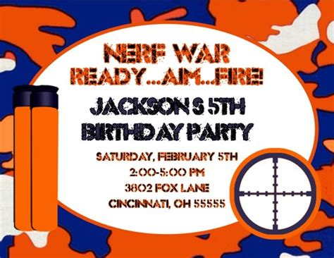 Nerf Gun Nerf War Birthday Party Invitation Ajinvites On Artfire Nerf Gun Birthday Invitation Template