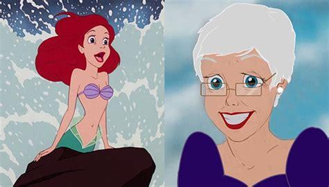 Putri Duyung Ariel 7 wajah putri disney jika mereka menjadi nenek nenek