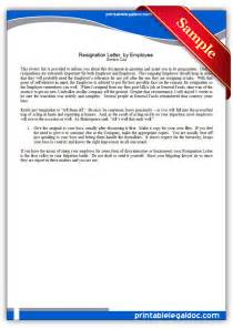 Free Printable Resignation Letter by Employee Resignation Form Images