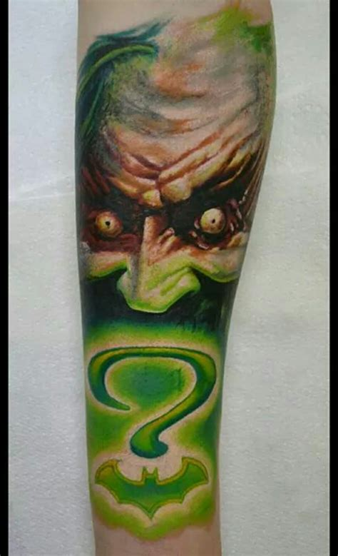 joker tattoo controversy batman riddler joker tattoo very green also done by