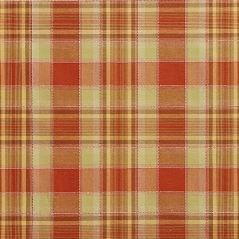 Striped Drapery Fabric Light Green And Orange Country Plaid Upholstery Fabric By
