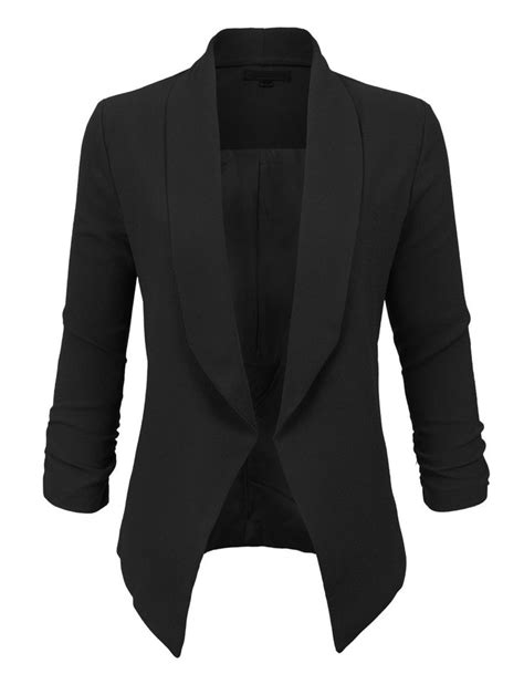 Blezer Black womens textured 3 4 sleeve open blazer jacket black