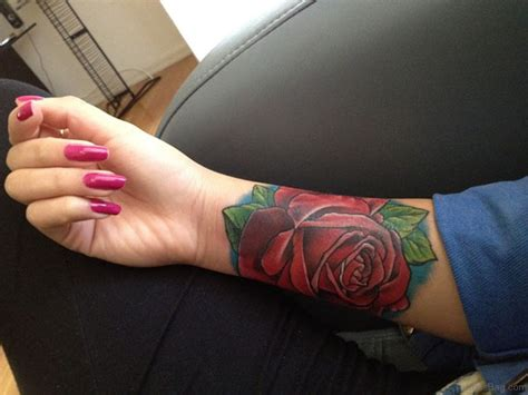 large rose tattoo 52 wrist colorful designs