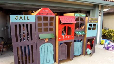 Little House Building Plans by Cool Homemade Kid Sized Kids Cardboard Town Youtube