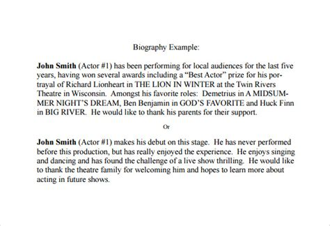 bio exles for theatre sle biography 6 documents in pdf word