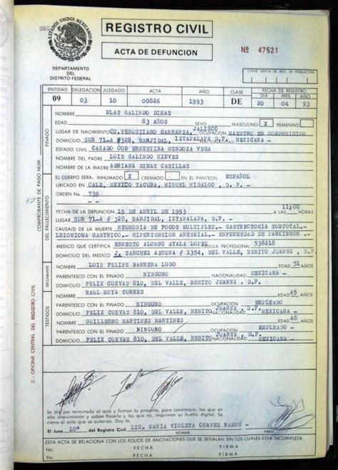 certificado de defuncion certificado de defuncion mexico solicitud de acta de