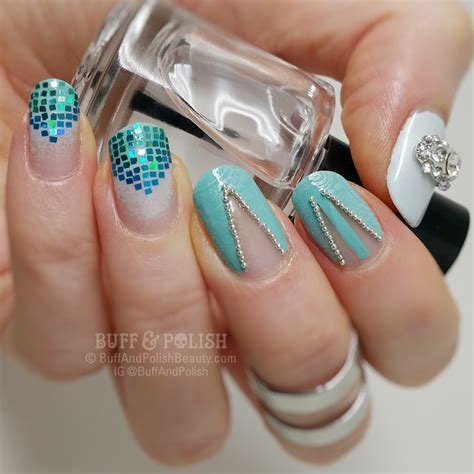 Nails C8 glitter fingers glitter placement buff