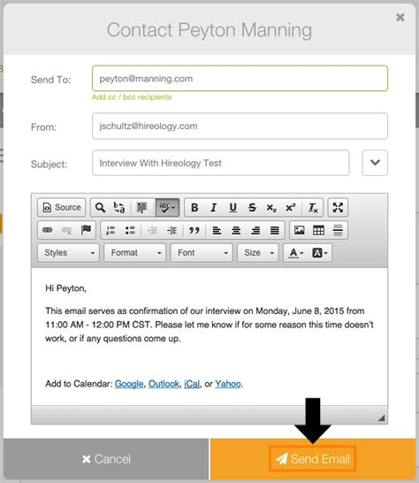 schedule email template can i schedule an through hireology how